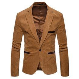 $enCountryForm.capitalKeyWord Australia - V Neck Long Sleeve Mens Corduroy Blazer Fashion Single Button Solid Color Mens Suits Jacket Spring Male Apparel