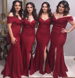 Melon Tube Uk 2019 New Style Plus Size Bridesmaid Dresses Burgundy Satin Portrait Off Shoulder