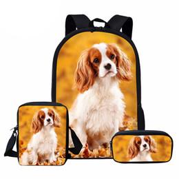 $enCountryForm.capitalKeyWord Australia - NOISYDESIGNS Cavalier King Charles Spaniel Dog Cute School Bag Set for Girls Boys Book Bags Mochila Pet Dog Children Schoolbags