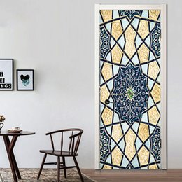 Adhesive Window Stickers Australia - 2Pcs Set Creative Islamic Patterns Door Decal Large Size Window Vinyl Sticker Self-Adhesive Wallpaper Home Decoration