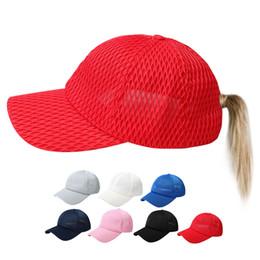 498b453ddfac62 plain net Ponytail Baseball Cap solid Messy Buns hat Trucker Pony caps  unisex Visor Cap Dad Hat mesh summer outdoor Snapbacks AAA2252