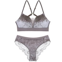 $enCountryForm.capitalKeyWord NZ - Sexy Small Chest Gather Girls Velvet Bra Panty Set Straps Seamless Push Up Bralette Women hollow-out floral lace Underwear Suit