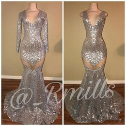 plus size see through dresses bling 2021 - 2019 Bling Silver Sequined Lace Mermaid Prom Dresses V Neck Long Sleeves See Through Sequins Sweep Train Formal Party Pageant Evening Gowns