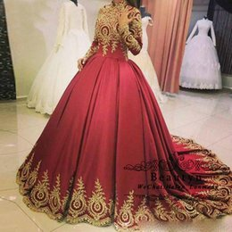 $enCountryForm.capitalKeyWord Australia - Muslim Long Sleeve Wedding Dresses 2019 High Neck Gold Lace Appliques Satin Puffy Princess Bridal Gowns Arabic Vestido De Novia Plus Size