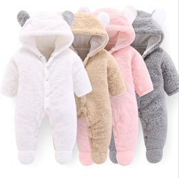Wholesale Winter Baby Clothes Solid Baby Girls Hooded Rompers Warm Infant Boy Jumpsuits Cute Toddler Outwear Christmas Baby Clothing Colors DW4158