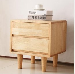 China Solid wood bedside cabinet two cupboards oak Double Drawer bedroom solid wood furniture Nordic Receiver Solid wood storage cabinet supplier nightstand suppliers