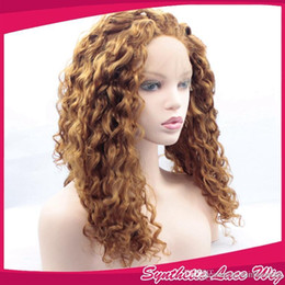 blonde afro wigs 2019 - Synthetic Wigs Heat Resistant Honey Blonde afro kinky curly Lace Front Wigs #30 blonde kinky curly Hair Wigs For African