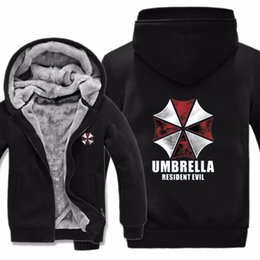 Discount resident evil umbrella corporation - Men Casual Wool Liner Fleece Umbrella Corporation Biohazard Sweatshirts Pullover Man Coat Resident Evil Hoodies Jacket W