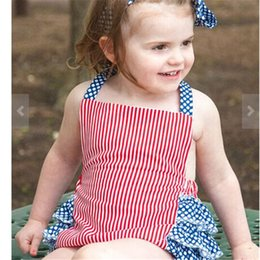 Hair Band Girl Kids Australia - Baby romper red summer stripe baby girls romper suits kids ins sleeveless suspender rompers + hair band 2pcs set baby clothing FJ85