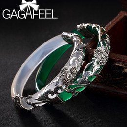 silver marcasite bracelet Australia - GAGAFEEL S925 Sterling Silver Bangles Four-leaf Clover Marcasite Inlaid Chalcedony Ladies High-end Wild Bracelet Women