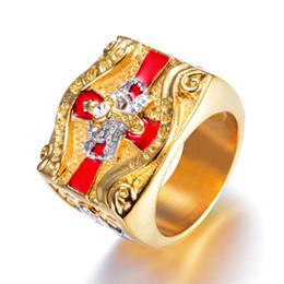 $enCountryForm.capitalKeyWord Australia - 316 Stainless Steel Unique Red Gold regalia royal Crown Princess Knights templar IN HOC SIGNO VINCESS Cross Masonic rings Jewelry