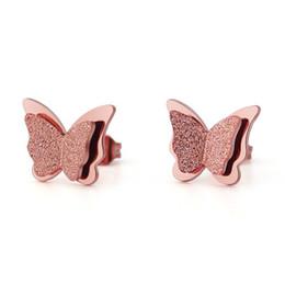 Gold butterfly stud earrinGs online shopping - 3 Colors Butterfly Matte L  Stainless Steel Luxury Earrings 45cd890faa5e