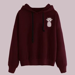 Wholesale pineapple hoodie for sale – custom Wine Red Hoodie Pineapple Sweatshirt Printing Poleron Mujer Ulzzang Clothing Pullover Plain Black Hoodie Women Streetwear