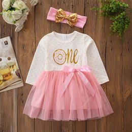ruffle tutus Australia - 2019 fall baby girl dresses fashion girls boutique clothing toddler clothes kids long sleeve dress ruffle tutu dresses + bows headbands pink