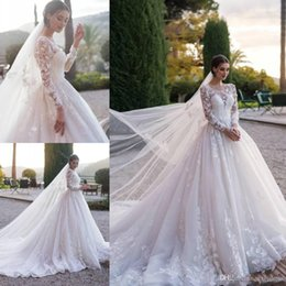 robe mariee vintage NZ - 2019 Vintage Lace A Line Sheer Scoop Neck Wedding Dresses Pleated Applique Long Sleeve Bridal Gowns Robe De Mariee