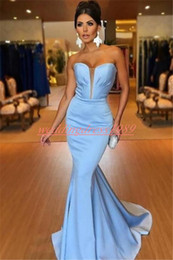 Sweetheart Sheath pageant dreSS online shopping - Elegant Mermaid Sweetheart Sleeveless Evening Dresses Satin Arabic Long Party Prom Gown Pageant Plus Size Robe De Soiree Formal Guest