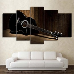 Paintings Guitars Wall Australia - New Style Canvas Painting 5 Panel Music Guitar Prints Bedside Background Wall Art Modular Picture Poster Hang Picture Home Decor