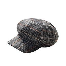 9f0b719214b MUQGEW 2019 New Newsboy Cap Beret Hat Men and Women British Retro Plaid  Beret Outdoor Leisure Octagonal Painter Hat y4