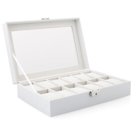 Dress Display Case Australia - Watch Display Storage Box Case White 12 Grids for Multi-functional Bracelet Watches Display Casket Watches Holder Casket
