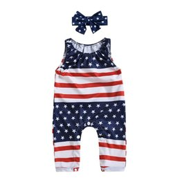romper kids jumpsuit NZ - Children Baby Girl Kid Flag Printed Summer Romper With Bowknot Headband Bodysuit Casual Outfit Jumpsuit
