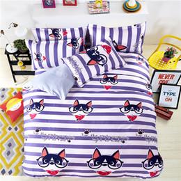 Discount teen bedding sets full - Cartoon Dog Bedding Set Bed Linen Kids Girls Boys Baby Teens Children 3 4Pcs Stripe Duvet Cover Flat Sheet Pillowcase Be