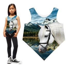 girls horse clothes UK - Girls T-shirt Clothing Kids Summer Style Nice The White Horse Printing Teen Brand Children Tops Baby Fashion Triangle T Shirt Y19051003
