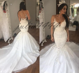 layered wedding gowns beads Australia - 2019 New Sexy Mermaid Wedding Dresses Layered Skirt Plus Size Wedding Dress Count Train Shinning Zipper Back Bridal Gowns