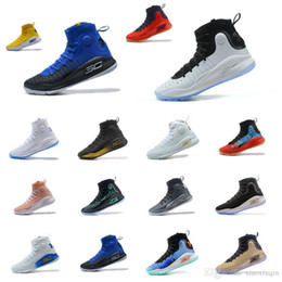 7fc1f2a8ae2d Cheap Mens UA Curry 4 high tops basketball shoes MVP Black White USA  Christmas Red Blue Gold for sale Stephen Currys IV sneakers with box