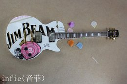 $enCountryForm.capitalKeyWord NZ - Free shipping JIM BEAM model with pink rose flower decal on body top white color OEM Standard electric Guitar