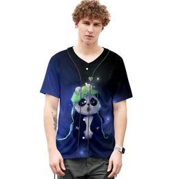 Wholesale cartoon panda shirt for sale – custom Cartoon Men s Shirt D Print Harajuku Panda Shirt Casual Streetwear Hip Hop Short Sleeve Blouse Shirts Summer Hawaii Style