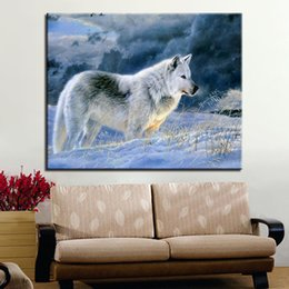 paint number kit diy 2019 - Modern DIY Painting By Numbers Kits Hand Painted Oil Unique Gift Wall Artwork Animals Wolf Canvas Pictures Framework For