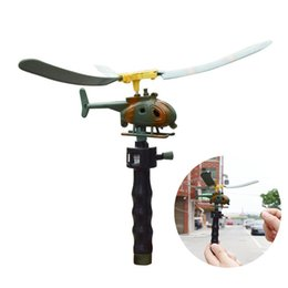 Wholesale Toys Helicopter Australia - Aviation Model Copter Handle Pull Helicopter Plane Outdoor Toys for Kids Playing Drone Children's Day Gifts For Beginner