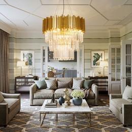 $enCountryForm.capitalKeyWord Australia - JESS Modern Chandelier Lighting Luxury Living Room Kitchen Island Crystal Lights Long Gold Polished Steel Hanging LED Lustre