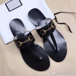 $enCountryForm.capitalKeyWord Australia - Classic lady Flat Slippers luxury Designer Authentic cowhide beach slippers Leather Lazy Flip flops Metal buckle woman shoes size us5-11 42