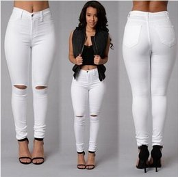 White Ripped Jeans Australia - Stretch Ripped Jeans Woman High Waist Elastic Zippers Fly Pockets Denim Jeans Pants Cotton Casual Skinny Pencil Women Trousers