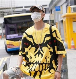round skull NZ - Fashion Mens Skull Printed Short Sleeve Round Neck T Shirts summer Designer Graffiti Oversize Hip Hop Casual Boyfriend Shirt Tee 663