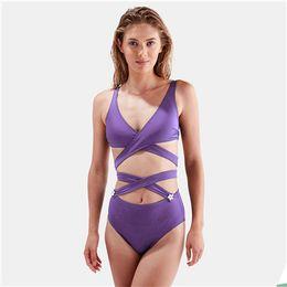 2f3c97120d244 2019 Sexy Cross Criss Bandage Swim Wear Bathing Suits Women Solid Swimming  Monokini Bodysuits One Piece Swimsuit Push up Swimwear Bikini Set