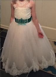 belt size chart Canada - Classic Long Tiered Tulle Flower Girl Dress with Appliques Lace Up Keyhole Back Belt Any Size and Any Color Kids Pageant Gowns
