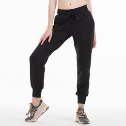 Wholesale black women pant for sale - Group buy Naked feel Fabric Workout Sport Joggers Pants Women Waist Drawstring Fitness Running Sweat pants with Two Side Pocket Style