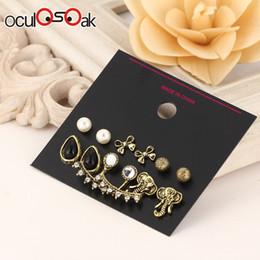 $enCountryForm.capitalKeyWord Australia - 6 Pcs set Fashion Geometric Vintage Stud Earrings For Woman Contrast Tassel Round Gold Black Color Earrings Set Jewelry 2019