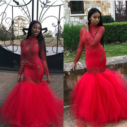 $enCountryForm.capitalKeyWord Australia - Coral African Mermaid Black Girls Prom Dresses Red Long Sleeves Beads Applique High Neck Tight Fishtail Dresses Evening Wear 2018 Cheap Gown