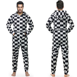 $enCountryForm.capitalKeyWord Australia - New Arrival Pajamas Men Overall Hooded Male Jumpsuits With Hat Loose Casual Style 3d Print White Black Plaid jumpsuit