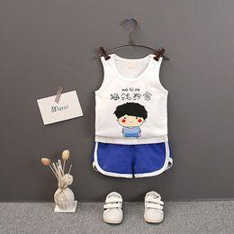 $enCountryForm.capitalKeyWord NZ - 2Pcs Set Summer Baby Boys Girls Casual Sleeveless Cartoon Words Print T-shirt Tops+Shorts Suits Costume Set