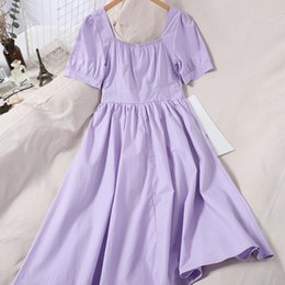 collared mid calf dress NZ - New Summer Solid Sweet Square Collar Dress Casual A Line Slim Puff Sleeve High Waist Mid-Calf Women Dress