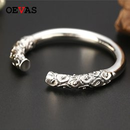 Discount solid sterling silver bangle bracelets - Bracelets & Bangles Real Solid 925 Sterling Silver Jewelry Auspicious cloud Opening Ajustable Bracelet For men S925 Silv