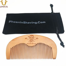 China 100pcs lot Wooden Combs w  Velvet Pouch Bag with Customized LOGO Wood Hair Comb Beard Comb for Men Women Barber Shop Promotion Gifts suppliers