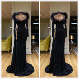 Champagne long feather dresses online shopping - Aso Ebi Arabic Black Sexy Sparkly Evening Dresses High Neck Beaded Prom Dresses High Split Formal Party Second Reception Gowns ZJ322