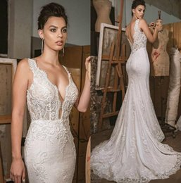 566500318 Fall 2019 New Mermaid Wedding Dresses V Neck Backless Lace Bridal Gowns  Sweep Train Cheap Plus Size Country Vestido De Novia Custom