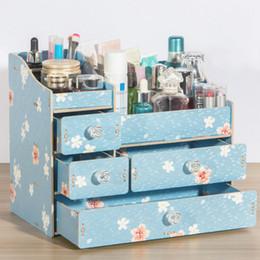 Home Care Products Australia - Wooden padded desktop cosmetics storage box handmade home storage products with handle skin care products box rack