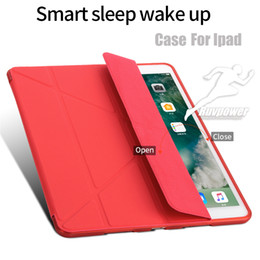 Magnetic Front Ipad Australia - Magnetic Trifold PU Leather Front Cover Full Silicone Soft Back Cover Smart Case With Auto Sleep Wake Funtion For Apple ipad